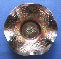 "Dugan / Diamond ""Holly and Berry"" (""Dugan's Holly"") amethyst carnival glass bowl"